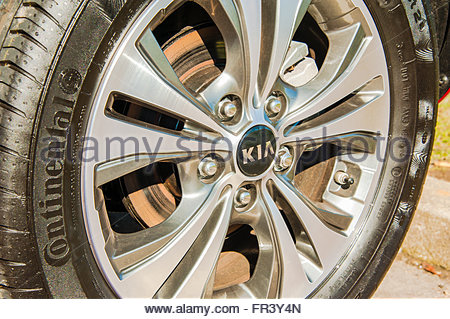 A close up a Continental tyre on a Kia Venga parked at Abington Services registered March 2016 - Stock Image