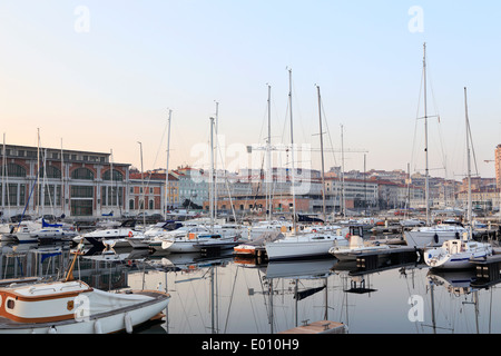 Trieste, Italy. Sailboats in the harbor. - Stock Image