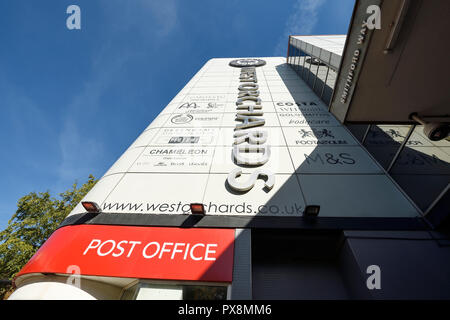 The exterior signage for West Orchards shopping centre on Smithford Way in Coventry city centre UK - Stock Image