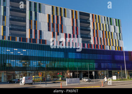 Helsinki New Children's Hospital opened for patients on 17 September 2018. The modern and practical building has colourful facade. - Stock Image