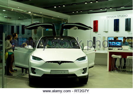 Tesla Model X in pop up showroom at Canary Wharf, London, UK - Stock Image