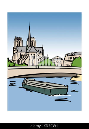 Illustration of the Notre-Dame Cathedral in Paris, France - Stock Image