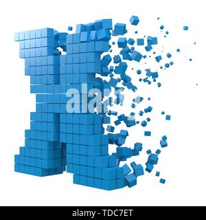 letterX shaped data block. version with blue cubes. 3d pixel style vector illustration. suitable for blockchain, technology, computer and abstract the - Stock Image