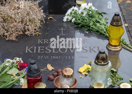 Powazki Cemetery, Warsaw. Grave of Polish famous film director Krzysztof Kieslowski - Stock Image