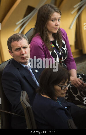 Politicians attend the Scottish First Minister's Questions at Holyrood.  Featuring: Michael Matheson, Aileen Campbell, Jeane Freeman Where: Edinburgh, United Kingdom When: 28 Jun 2018 Credit: Euan Cherry/WENN - Stock Image