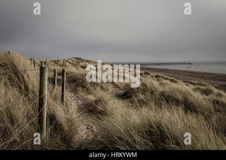 Sand banks across west beach, Littlehampton - Stock Image