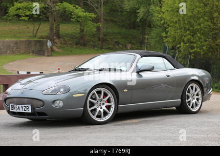 Jaguar XKR Convertible (2004), British Marques Day, 28 April 2019, Brooklands Museum, Weybridge, Surrey, England, Great Britain, UK, Europe - Stock Image