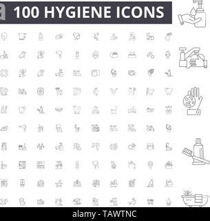Hygiene line icons, signs, vector set, outline illustration concept  - Stock Image
