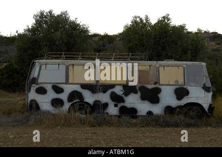 spotted van living accommodation melanda beach cyprus vehicle coach bus - Stock Image