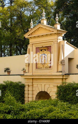 A monument in the gardens of the Real Alcazar, the Royal Palace in Seville,Spain, Europe - Stock Image