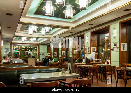 The famous Cafe Slavia in Prague. It was opened in 1884 - Stock Image