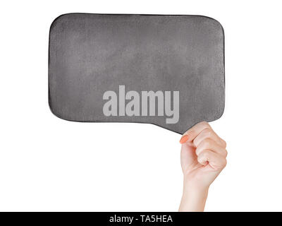 Woman hand holding black slate with 'looking for a job' text on it. Isolated on white, clipping path included - Stock Image