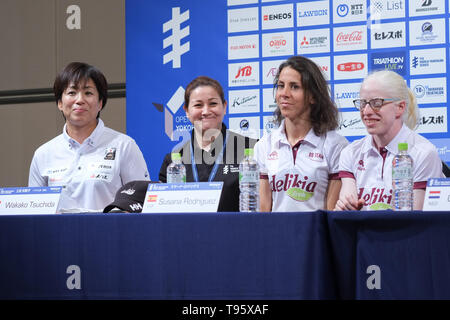 (L-R) Elite, Paratriathlon v.l.Wakako Tsuchida, Guide with Susana Rodriguez: May 16, 2019, Yokohama, Japan: Press Conference for the 2019 ITU World Triathlon and Paratriathlon Yokohama at the Monterey Hotel in Yokohama, Japan. The race will be held on May 18-19 2019 near Yamashita Park in Yokohama. Credit: Michael Steinebach/AFLO/Alamy Live News - Stock Image
