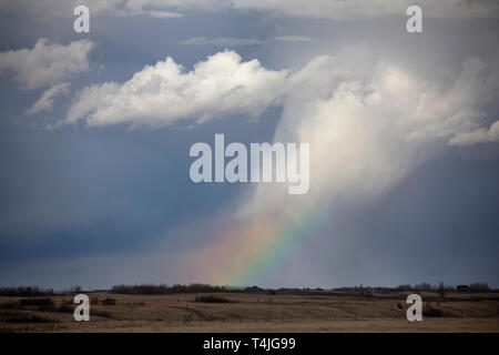 Prairie Storm Clouds in Saskatchewan Canada Rainbow - Stock Image