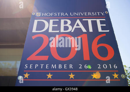 Hempstead, New York, USA. September 13, 2016. Hofstra University Debate 2016 banner, in patriotic red white and - Stock Image