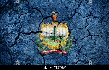 Flag of Vermont on dry earth ground texture background - Stock Image