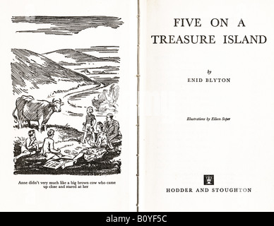 Enid Blyton's first Famous Five Children's Book Five on a Treasure Island first published 1942 FOR EDITORIAL - Stock Image