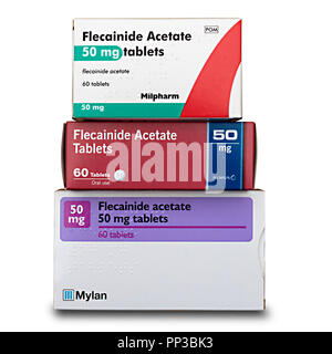 Three boxes of 'off patent' generic medicines, containing 50mg Flecainide Acetate tablets used to treat heart arrhythmias e.g. atrial fibrillation. - Stock Image