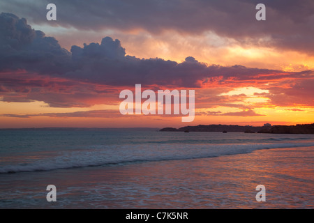 Portugal, Algarve, Praia Da Rocha, Beach at Sunset - Stock Image