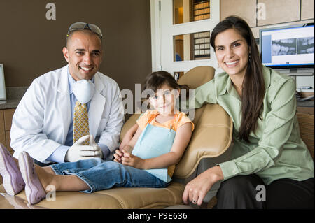 A portrait of a Middle Eastern male dentist a female child patient and her mom in a dental office. - Stock Image