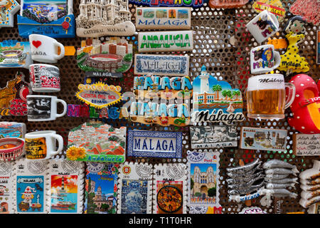 Fridge magnets on sale as souvenirs, Malaga, Andalusia Spain Europe - Stock Image