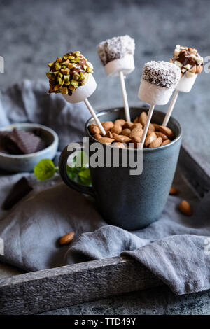 Homemade sweet marshmallow pops dipped in chocolate, sprinkled with pistachios, almonds and grated coconut - Stock Image