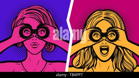 Sexy surprised woman looking through binoculars. Pop art retro comic style - Stock Image