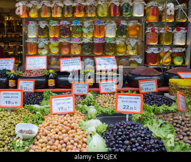 Olives and various pickles on a market stall in Istanbul Turkey - Stock Image