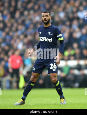 Ashley Cole of Derby during the FA Cup 5th round match between Brighton & Hove Albion and Derby County at the American Express Community Stadium . 16 February 2019 - Stock Image