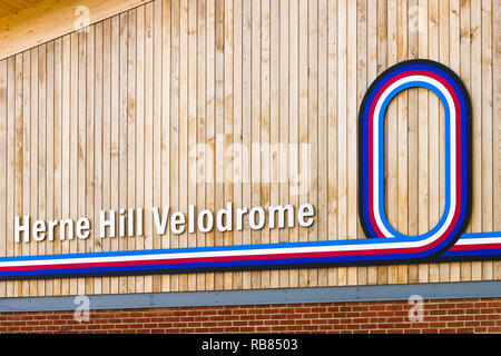 Herne Hill Velodrome sign on the side of the main building, London, UK - Stock Image