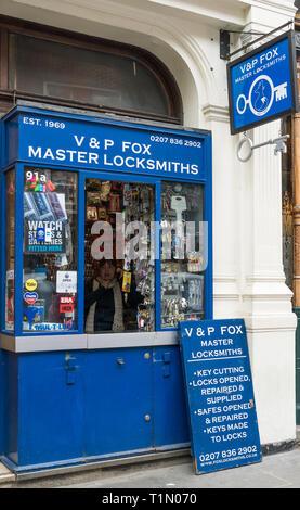 V & P Fox master locksmiths kiosk in St. Martin's Lane, Covent Garden, London, England, UK - Stock Image