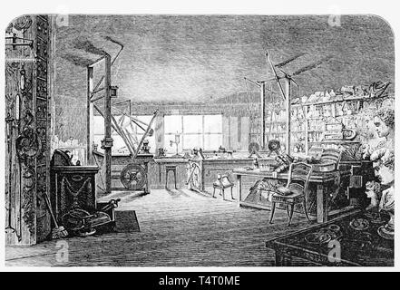 Etching of James Watt's workshop at home, c. 1877 - Stock Image