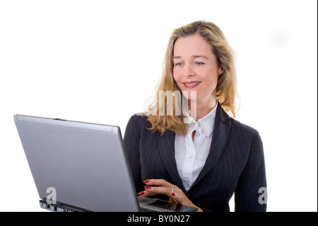 mature business women with laptop isolated on white - Stock Image
