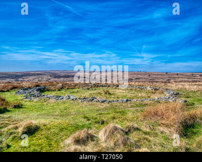 Barbrook, Derbyshire, UK. 30th March, 2019. UK Weather: Bright blue sky on a warm sunny day at Barbrook 2, stone circle altered incorporating a wall in the Peak District. HDR landscape photography. Credit: Doug Blane/Alamy Live News - Stock Image