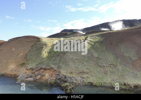 glacial river with steaming hot springs South Iceland - Stock Image