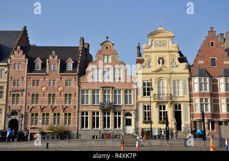 Buildings on the Korenlei on the river Leie in Ghent, Belgium. All examples of Flemish Architecture - Stock Image