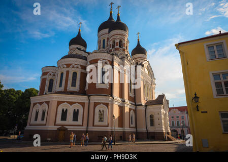 Tallinn cathedral, ground-level view of the Alexander Nevsky Orthodox Cathedral sited on Toompea Hill in the centre of Tallinn, Estonia. - Stock Image