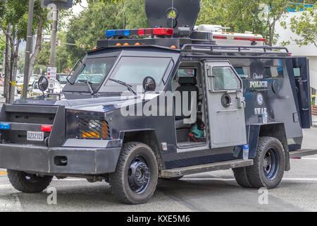Glendale California Police Armored Vehicle on display - Stock Image