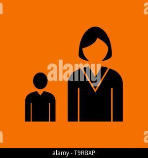 Lady Boss With Subordinate Icon. Black on Orange Background. Vector Illustration. - Stock Image