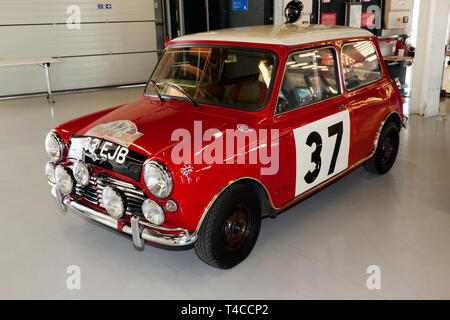 A 1963 Mini Cooper S, driven by Paddy Hopkirk MBE prepared by the BMC competitions department which won outright victory in the 1964 Monte Carlo Rally - Stock Image