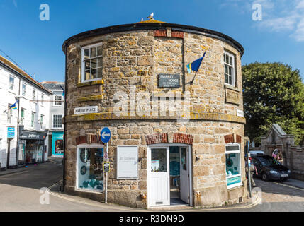 The medieval Market House in St Ives, Cornwall, England. The circular Market House was built in 1497. - Stock Image