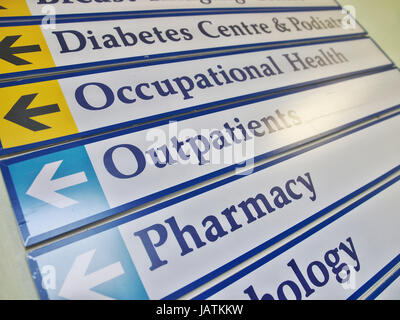 Helpful and comprehensive signage at a NHS hospital in Great Britain - Stock Image