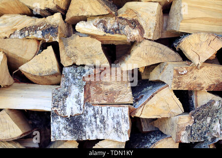 Natural wooden decor background. Firewood log texture. - Stock Image