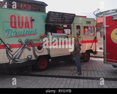 Quebec,Canada. A fish food truck on site in downtown Montreal - Stock Image