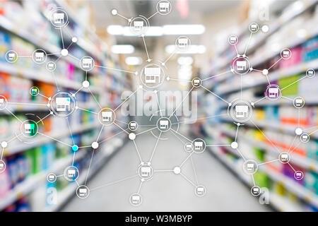 Franchise Distribution network Shop Retail Business Financial concept. Blurred supermarket background - Stock Image