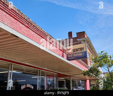 Red Arrow Hardware store exterior front, a vintage hardware store, in small rural Alabama town of Prattville Alabama USA. - Stock Image