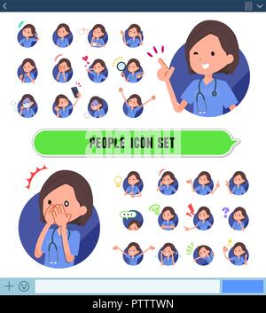 A set of Surgical Doctor women with expresses various emotions on the SNS screen.There are variations of emotions such as joy and sadness.It's vector  - Stock Image
