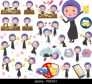A set of women wearing hijab related to alcohol.There is a lively appearance and action that expresses failure about alcohol.It's vector art so it's e - Stock Image