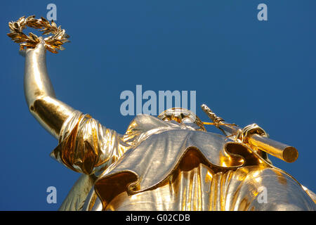 Victory Column (Siegessaeule) with view of the statue from directly underneath in Berlin at 'Grosser Stern'. - Stock Image
