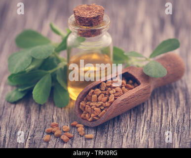 Fenugreek seeds with oil in bottle on wooden background - Stock Image